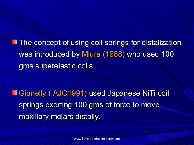 The concept of using coil springs for distalization was introduced by Miura (1988) who used 100 gms superelastic coils. Gi...