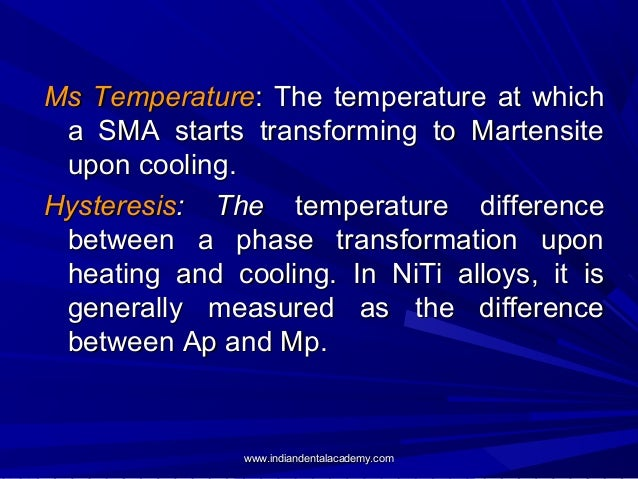 Ms Temperature: The temperature at which a SMA starts transforming to Martensite upon cooling. Hysteresis: The temperature...