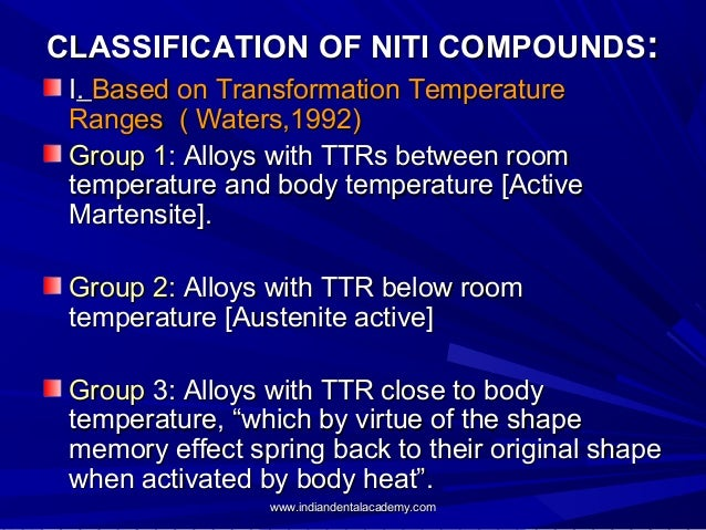 CLASSIFICATION OF NITI COMPOUNDS: I. Based on Transformation Temperature Ranges ( Waters,1992) Group 1: Alloys with TTRs b...