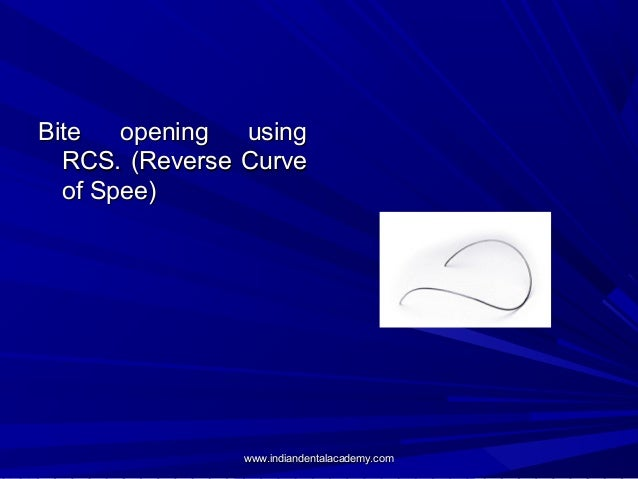 Bite opening using RCS. (Reverse Curve of Spee)  www.indiandentalacademy.com