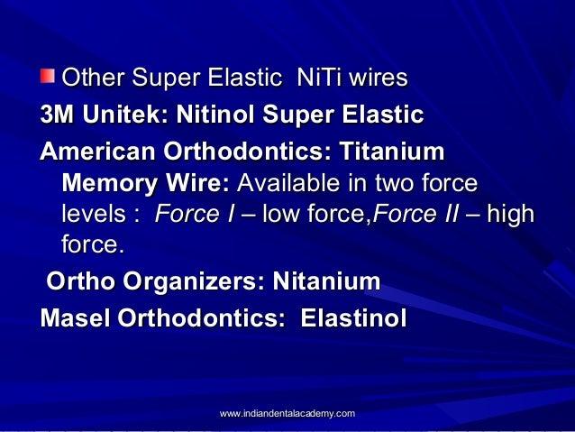 Other Super Elastic NiTi wires 3M Unitek: Nitinol Super Elastic American Orthodontics: Titanium Memory Wire: Available in ...