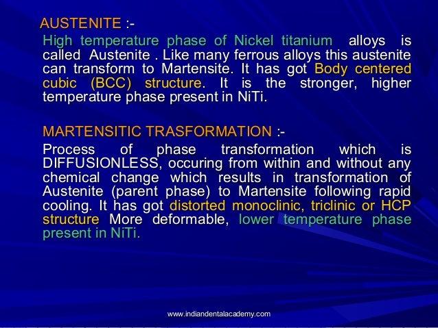 AUSTENITE :High temperature phase of Nickel titanium alloys is called Austenite . Like many ferrous alloys this austenite ...