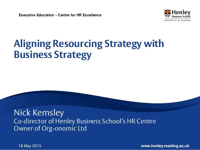www.henley.reading.ac.uk18 May 2013Executive Education – Centre for HR ExcellenceAligning Resourcing Strategy withBusiness...