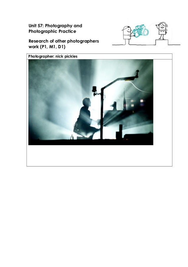 Unit 57: Photography and  Photographic Practice  Research of other photographers  work (P1, M1, D1)  Photographer: nick pi...