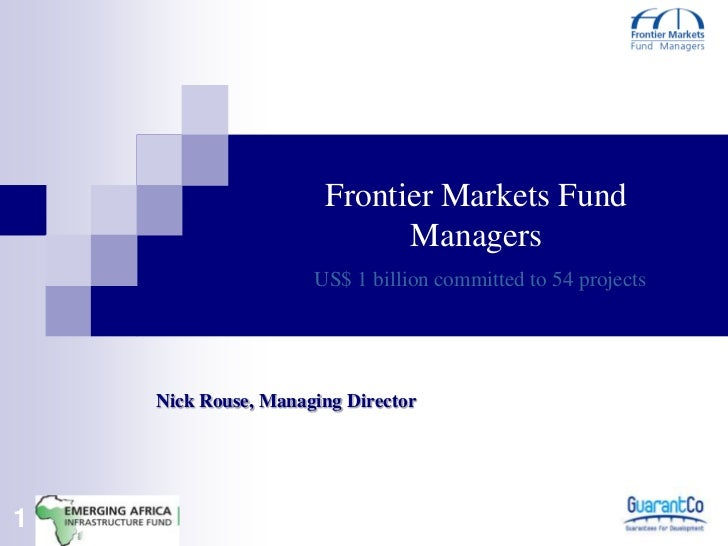 Frontier Markets Fund                            Managers                     US$ 1 billion committed to 54 projects    Ni...