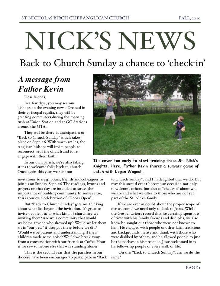 ST. NICHOLAS BIRCH CLIFF ANGLICAN CHURCH                                                  FALL, 2010      NICK'S NEWS Back...
