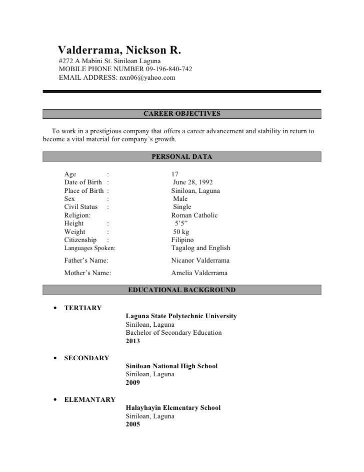 Valderrama, Nickson R. #272 A Mabini St. Siniloan Laguna MOBILE PHONE  NUMBER ...