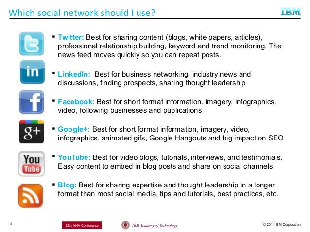 © 2014 IBM CorporationIBM Academy of Technology12th AHA Conference Which social network should I use? 17  Twitter: Best f...