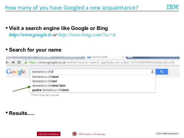 © 2014 IBM CorporationIBM Academy of Technology12th AHA Conference How many of you have Googled a new acquaintance?  Visi...
