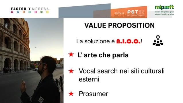 La soluzione è N.I.C.O.! VALUE PROPOSITION L' arte che parla Vocal search nei siti culturali esterni Prosumer
