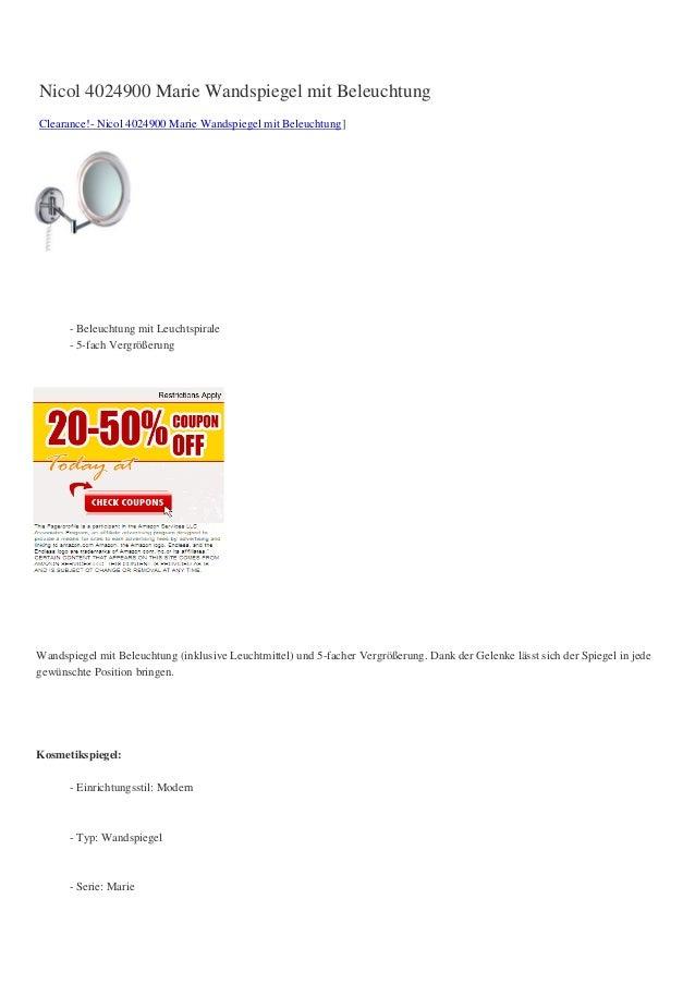 Nicol 4024900 Marie Wandspiegel mit BeleuchtungClearance!- Nicol 4024900 Marie Wandspiegel mit Beleuchtung]      - Beleuch...