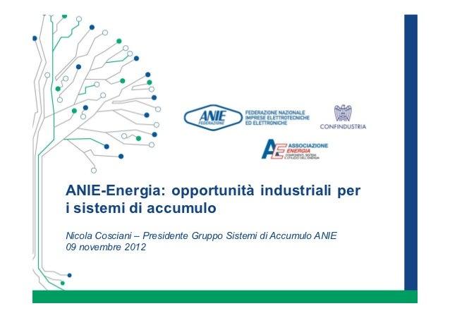 ANIE-Energia: opportunità industriali peri sistemi di accumuloNicola Cosciani – Presidente Gruppo Sistemi di Accumulo ANIE...