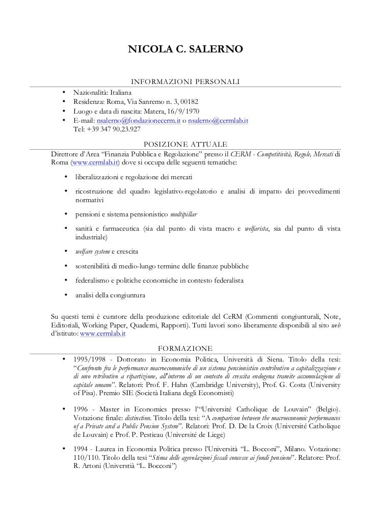 NICOLA C. SALERNO                             INFORMAZIONI PERSONALI   •    Nazionalità: Italiana   •    Residenza: Roma, ...