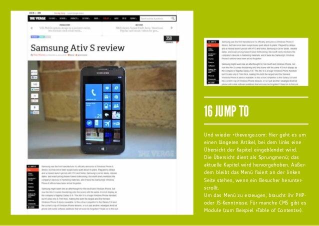 16 JUMP TOUnd wieder fitheverge.com: Hier geht es umeinen längeren Artikel, bei dem links eineÜbersicht der Kapitel eingebl...