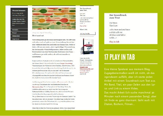 17 PLAY IN TABEine kleine Spielerei aus meinem Blog.Zugegebenermaßen weiß ich nicht, ob dasirgendwem auffällt, aber ich st...