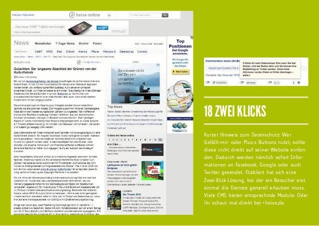 18 ZWEI KLICKSKurzer Hinweis zum Datenschutz: WerGefällt-mir- oder Plus-1-Buttons nutzt, solltediese nicht direkt auf sein...
