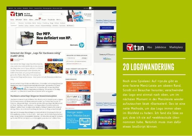 20 LOGOWANDERUNGNoch eine Spielerei: Auf fit3n.de gibt eseine fixierte Menü-Leiste am oberen Rand.Scrollt ein Besucher heru...
