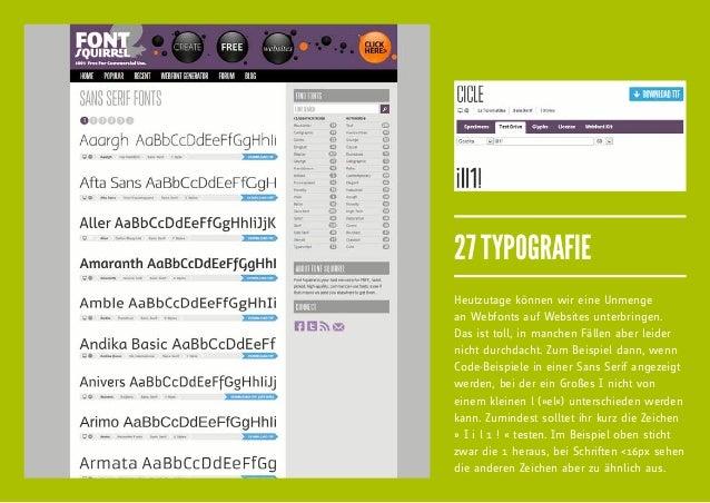 27 TYPOGRAFIEHeutzutage können wir eine Unmengean Webfonts auf Websites unterbringen.Das ist toll, in manchen Fällen aber ...