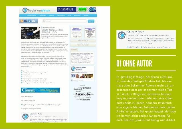 01 OHNE AUTOREs gibt Blog-Einträge, bei denen nicht klarist, wer den Text geschrieben hat. Ich ver-traue aber bekannten Au...