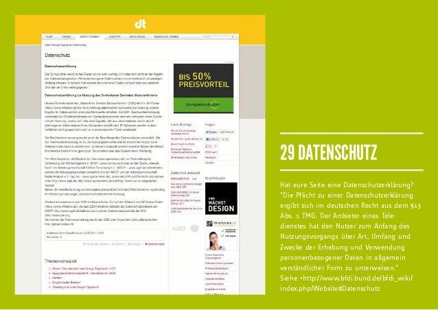 """29 DATENSCHUTZHat eure Seite eine Datenschutzerklärung?""""Die Pflicht zu einer Datenschutzerklärungergibt sich im deutschen ..."""