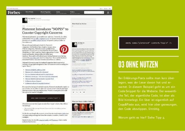 03 OHNE NUTZENBei Erklärungs-Posts sollte man kurz über-legen, was der Leser davon hat und er-wartet. In diesem Beispiel g...