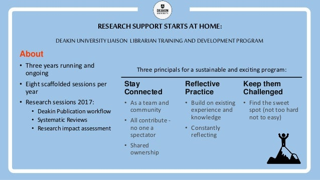 RESEARCH SUPPORT STARTS AT HOME: Stay Connected • As a team and community • All contribute - no one a spectator • Shared o...