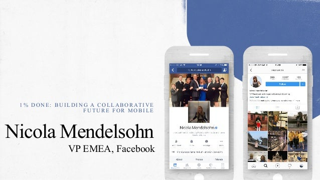Nicola Mendelsohn VP EMEA, Facebook 1 % D O N E : B U I L D I N G A C O L L A B O R AT I V E F U T U R E F O R M O B I L E
