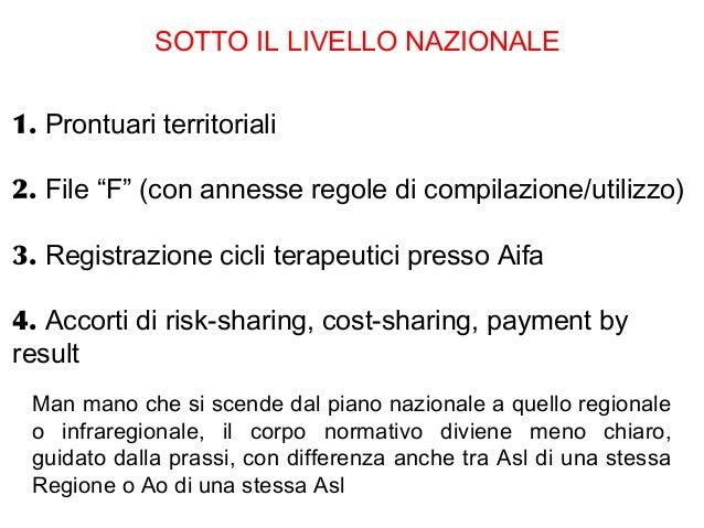 """SOTTO IL LIVELLO NAZIONALE1. Prontuari territoriali2. File """"F"""" (con annesse regole di compilazione/utilizzo)3. Registrazio..."""