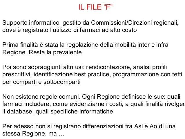 """IL FILE """"F""""Supporto informatico, gestito da Commissioni/Direzioni regionali,dove è registrato l'utilizzo di farmaci ad alt..."""