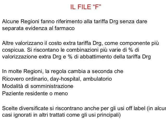"""IL FILE """"F""""Alcune Regioni fanno riferimento alla tariffa Drg senza dareseparata evidenza al farmacoAltre valorizzano il co..."""