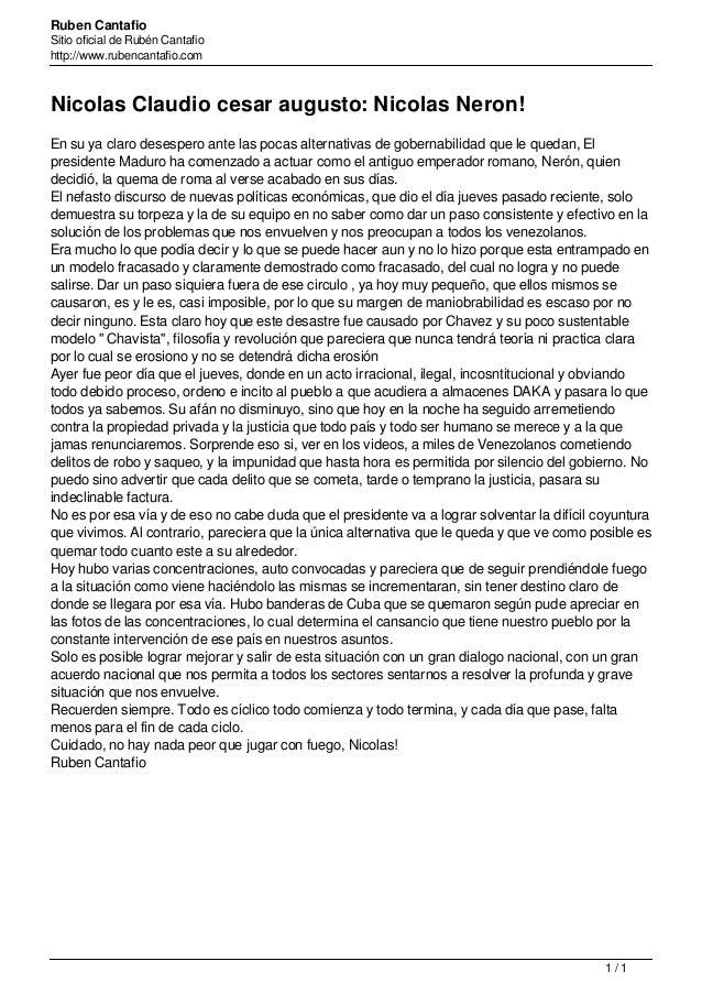 Ruben Cantafio Sitio oficial de Rubén Cantafio http://www.rubencantafio.com Nicolas Claudio cesar augusto: Nicolas Neron! ...