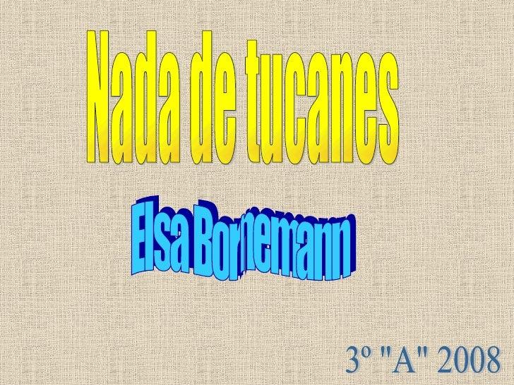 """Nada de tucanes Elsa Bornemann 3º """"A"""" 2008"""