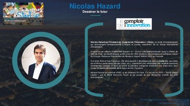 #PortraitDeStartuper 1Nicolas Hazard Dessiner le futur Nicolas Hazard est Président du Comptoir de l'Innovation 1 (Paris),...