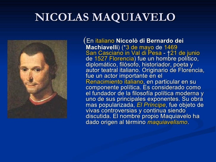 niccol machiavelli life and ideas