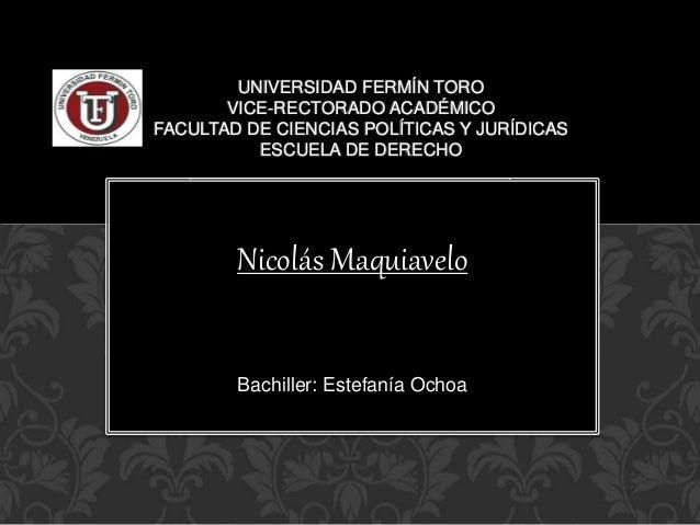 UNIVERSIDAD FERMÍN TORO  VICE-RECTORADO ACADÉMICO  FACULTAD DE CIENCIAS POLÍTICAS Y JURÍDICAS  ESCUELA DE DERECHO  Nicolás...