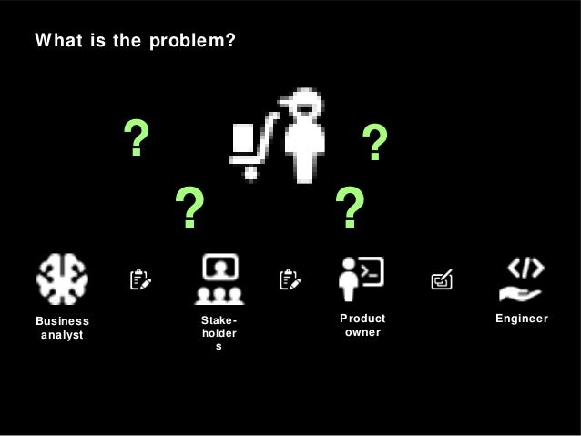 What is the problem? Business analyst Stake- holder s Product owner Engineer ? ? ??