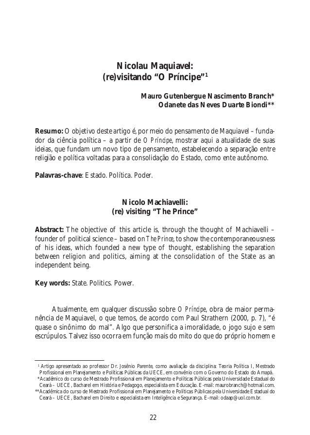 """22 Nicolau Maquiavel: (re)visitando """"O Príncipe""""1 Mauro Gutenbergue Nascimento Branch* Odanete das Neves Duarte Biondi** R..."""