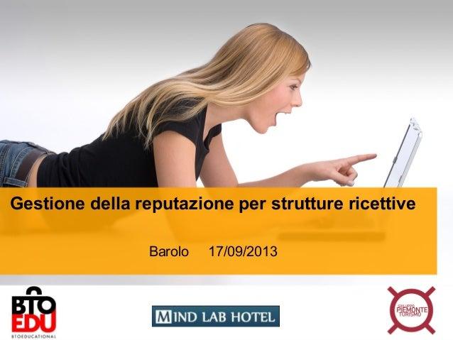 Gestione della reputazione per strutture ricettive Barolo 17/09/2013