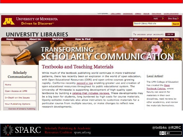 @txtbks @R2RCScholarly Publishing & Academic Resources Coalition sparc.arl.org