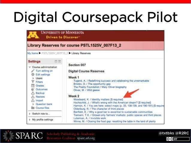 @txtbks @R2RCScholarly Publishing & Academic Resources Coalition sparc.arl.org Digital Coursepack Pilot