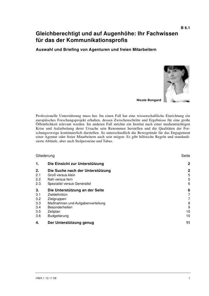 B 6.1Gleichberechtigt und auf Augenhöhe: Ihr Fachwissenfür das der KommunikationsprofisAuswahl und Briefing von Agenturen ...