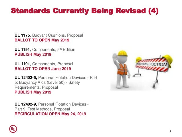 Standards Currently Being Revised (4) 7 UL 1175, Buoyant Cushions, Proposal BALLOT TO OPEN May 2019 UL 1191, Components, P...