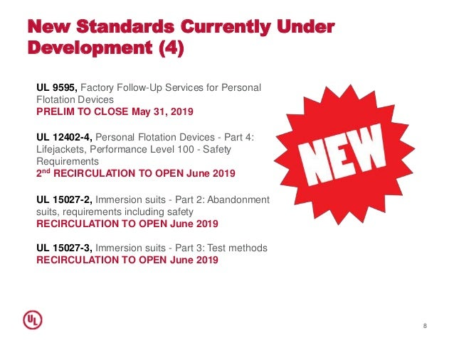 New Standards Currently Under Development (4) 8 UL 9595, Factory Follow-Up Services for Personal Flotation Devices PRELIM ...