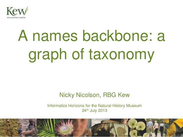 A names backbone: a graph of taxonomy Nicky Nicolson, RBG Kew Informatics Horizons for the Natural History Museum 24th Jul...