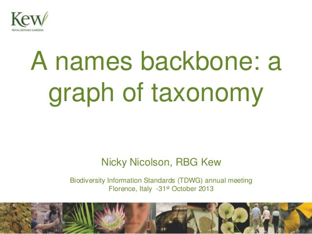 A names backbone: a graph of taxonomy Nicky Nicolson, RBG Kew Biodiversity Information Standards (TDWG) annual meeting Flo...