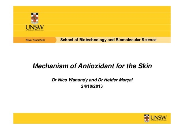 School of Biotechnology and Biomolecular Science  Mechanism of Antioxidant for the Skin Dr Nico Wanandy and Dr Helder Març...