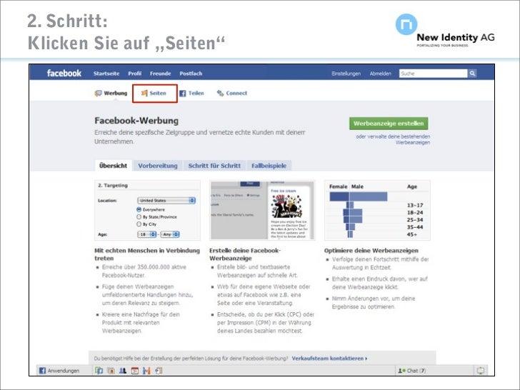 """2. Schritt: Klicken Sie auf """"Seiten""""     Seite                      NIDAG Kurz-Anleitung """"Facebook-Seiten erstellen"""" Janua..."""