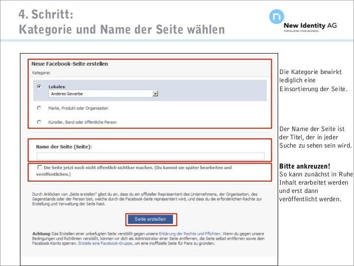 4. Schritt: Kategorie und Name der Seite wählen                                                                    Die Kat...