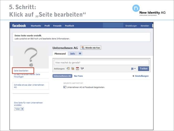 """5. Schritt: Klick auf """"Seite bearbeiten""""     Seite                          NIDAG Kurz-Anleitung """"Facebook-Seiten erstelle..."""