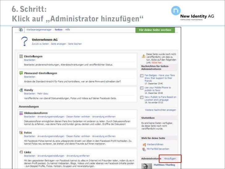 """6. Schritt: Klick auf """"Administrator hinzufügen""""     Seite                          NIDAG Kurz-Anleitung """"Facebook-Seiten ..."""
